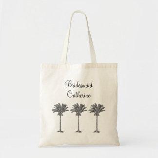 Elegant Exotic Palm Tree Custom Wedding Bridesmaid Tote Bag