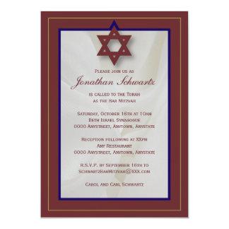 Elegant Fabric Bar Mitzvah Invitation in Burgundy