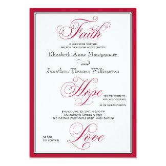 Elegant Faith Hope Love Script Wedding Invitation