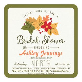 Elegant Fall Leaves, Floral Autumn Bridal Shower 13 Cm X 13 Cm Square Invitation Card