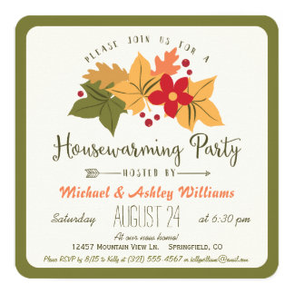Elegant Fall Leaves, Floral Housewarming Party 13 Cm X 13 Cm Square Invitation Card