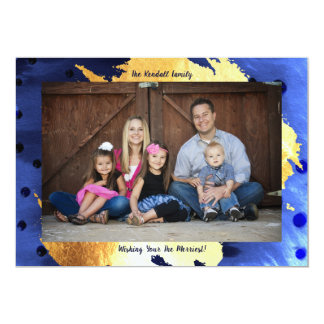 Elegant Family Photo Card Chic Faux Gold and Blue