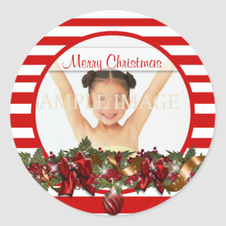 Elegant family photo greeting PERSONALIZE Classic Round Sticker