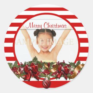 Elegant family photo greeting PERSONALIZE Round Sticker