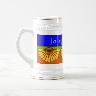 Elegant Fan Flower Ceramic Stein Coffee Mugs