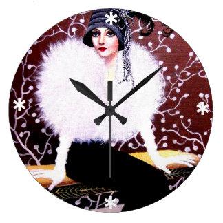 Elegant Fashion Art Deco Lady - Custom Clock