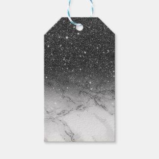 Elegant faux black glitter ombre white marble