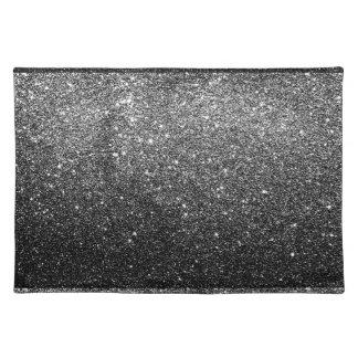 Elegant Faux Black Glitter Placemat