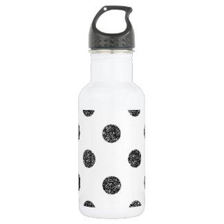 Elegant Faux Black Glitter Polka Dots Pattern 532 Ml Water Bottle