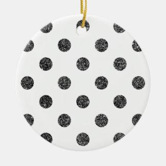 Elegant Faux Black Glitter Polka Dots Pattern Ceramic Ornament