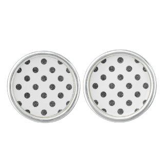Elegant Faux Black Glitter Polka Dots Pattern Cufflinks