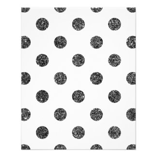 Elegant Faux Black Glitter Polka Dots Pattern Flyer