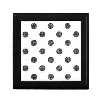Elegant Faux Black Glitter Polka Dots Pattern Gift Box