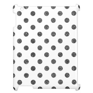 Elegant Faux Black Glitter Polka Dots Pattern iPad Case