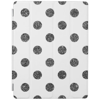 Elegant Faux Black Glitter Polka Dots Pattern iPad Cover