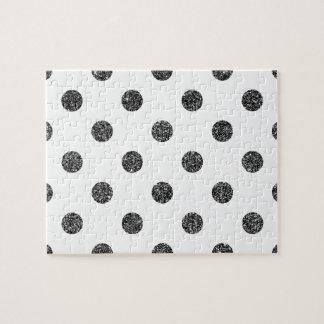 Elegant Faux Black Glitter Polka Dots Pattern Jigsaw Puzzle
