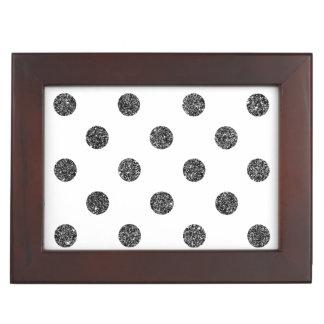 Elegant Faux Black Glitter Polka Dots Pattern Keepsake Box
