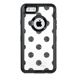 Elegant Faux Black Glitter Polka Dots Pattern OtterBox Defender iPhone Case