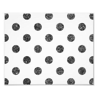 Elegant Faux Black Glitter Polka Dots Pattern Photo Print