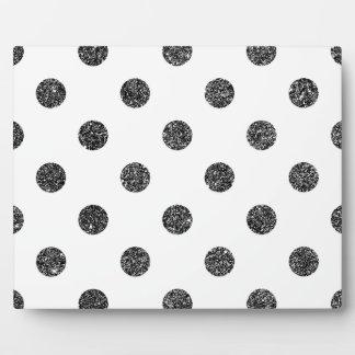 Elegant Faux Black Glitter Polka Dots Pattern Plaque