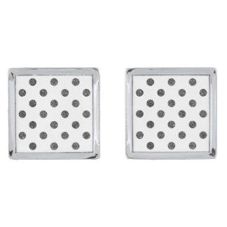 Elegant Faux Black Glitter Polka Dots Pattern Silver Finish Cuff Links