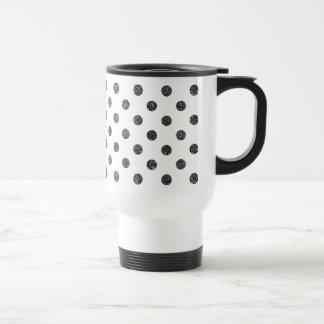 Elegant Faux Black Glitter Polka Dots Pattern Travel Mug