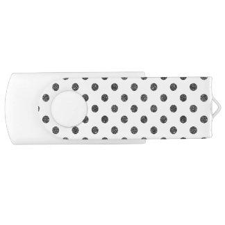 Elegant Faux Black Glitter Polka Dots Pattern USB Flash Drive