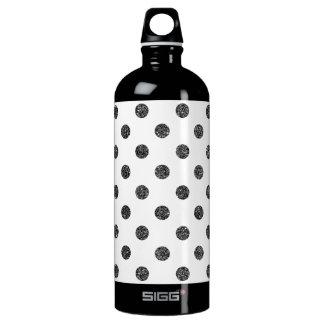 Elegant Faux Black Glitter Polka Dots Pattern Water Bottle