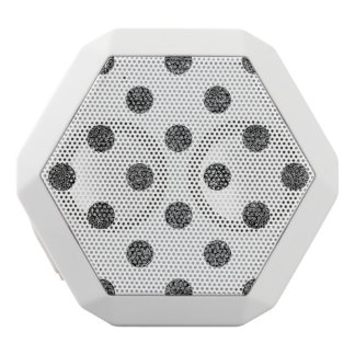 Elegant Faux Black Glitter Polka Dots Pattern White Bluetooth Speaker