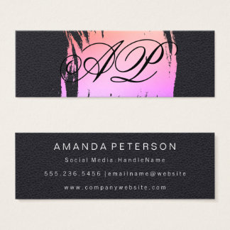 Elegant Faux Black Leather Brushed Color Monogram Mini Business Card