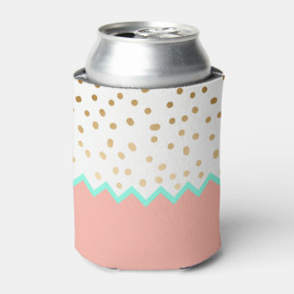 elegant faux cute gold polka dots mint and pink can cooler