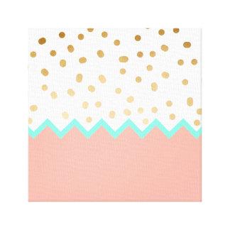 elegant faux cute gold polka dots mint and pink canvas print
