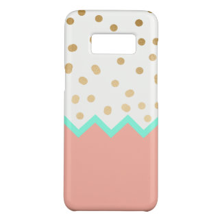 elegant faux cute gold polka dots mint and pink Case-Mate samsung galaxy s8 case
