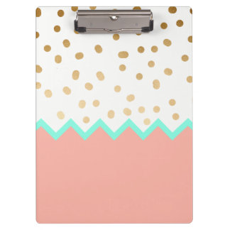 elegant faux cute gold polka dots mint and pink clipboard
