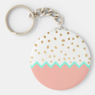 elegant faux cute gold polka dots mint and pink key ring