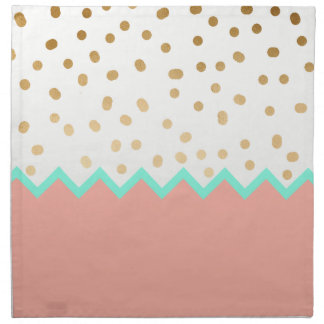 elegant faux cute gold polka dots mint and pink napkin