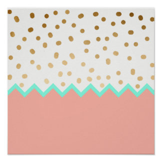 elegant faux cute gold polka dots mint and pink poster