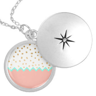 elegant faux cute gold polka dots mint and pink silver plated necklace