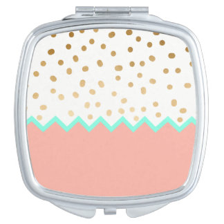 elegant faux cute gold polka dots mint and pink travel mirror
