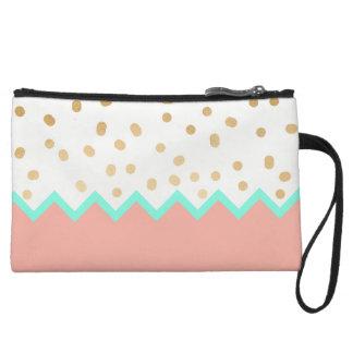 elegant faux cute gold polka dots mint and pink wristlet