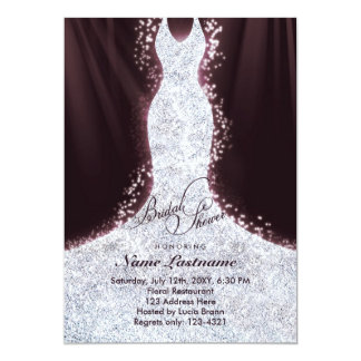Elegant Faux Glitter Dress Bridal Shower Invite