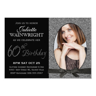Elegant Faux Glitter Photo 60th Birthday Party 9 Cm X 13 Cm Invitation Card