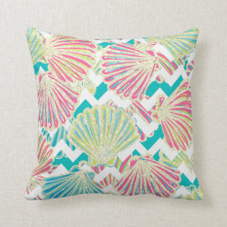 Elegant Faux Glitter Seashells on Chevrons Cushion