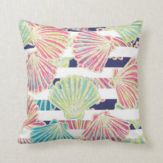 Elegant Faux Glitter Seashells on Stripes Cushion