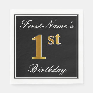 Elegant, Faux Gold 1st Birthday + Custom Name Paper Napkins