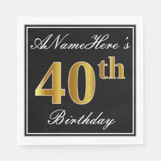 Elegant, Faux Gold 40th Birthday + Custom Name Disposable Serviette