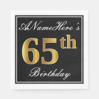 Elegant, Faux Gold 65th Birthday + Custom Name Disposable Napkin