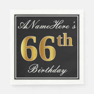 Elegant, Faux Gold 66th Birthday + Custom Name Disposable Serviette