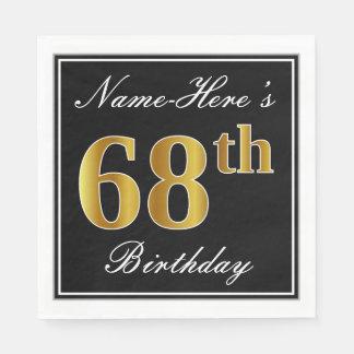 Elegant, Faux Gold 68th Birthday + Custom Name Disposable Serviettes
