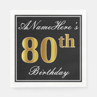 Elegant, Faux Gold 80th Birthday + Custom Name Disposable Serviette